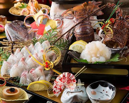 祝い鯛や伊勢海老の姿造りを使ったコースも有り。