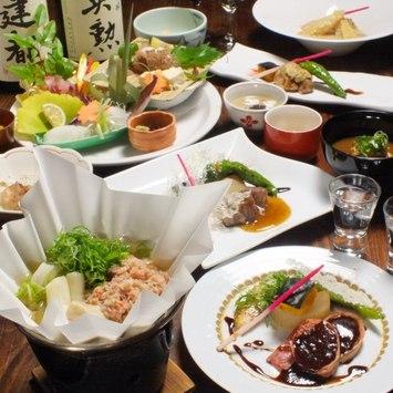 京の伝統裏打ちされた和洋折衷会席のお料理の数々。